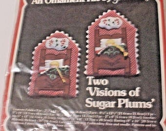 Vintage Yours Truly Christmas Ornament Kit - Two Visions of Sugar Plums 1981 New in Package