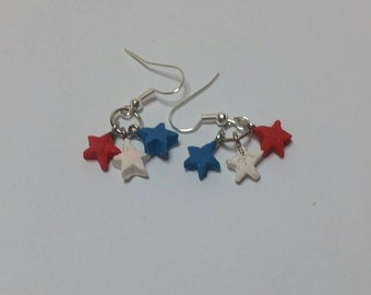 Star Spangled Patriotic Earrings, July 4th earrings, Independence Day jewelry, Patriotic jewelry, Made in USA, 4th of July earrings, Murica