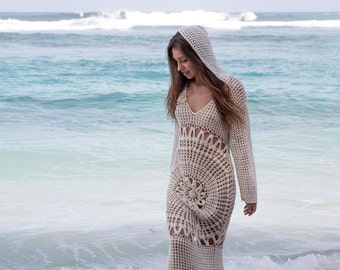 Hooded crochet maxi, crochet maxi dress with hood, beach wedding dress