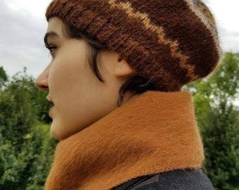 100% Alpaca Beret Patterned Knit Women/Men