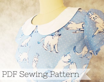 Short Sleeve Peter Pan Collar Dress PDF Sewing Pattern - cat, short cap sleeve, kitty, printable