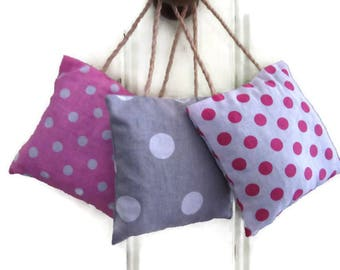 Lavender sachets, set of 3, decoration of door, pink, white, grey, polka dots