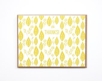 Thank you Card, Scandinavian thank you Card, Blank card, Yellow Card, Leaf card, Pattern card, Hand drawn card
