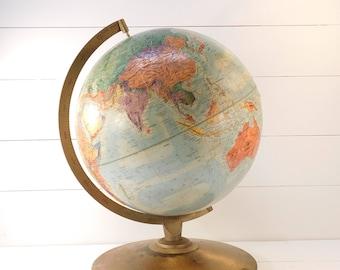 Vintage Replogle 12 Inch World Nation Globe, World Nation World Map, Office Decor, Classroom Globe