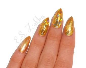 Gold Holographic Luxury Nails / Fake nails, glue on nails, press on nails, nail art, gift women, jewelry, gift, stiletto, wedding, drag, fun