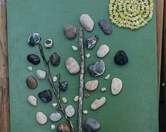 Mixed Media Rock Tree with sun Wall Hanging