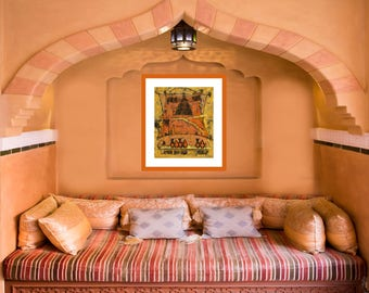 Yellow Orange Wall Art, Canvas Giclée Print, Abstract Painting, Modern Art Print, Egypt Motif, Cosy Home Decor,  Print from Original Art
