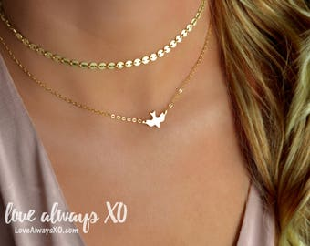 Gold Dove Necklace, bird necklace, gold necklace, Delicate Necklace, minimalist necklace, soaring dove, soaring bird, gold jewelry