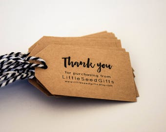 Shop Tags Customised - Rustic Kraft Card & Twine 25 / 50 / 100 / 150 / 200 / 250 packs
