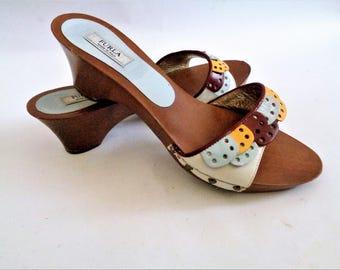 FURLA Clogs, Furla Shoes, Furla Slippers, Vintage Clogs, Multi color Leather Slippers Clogs, Size EU39/ US 8