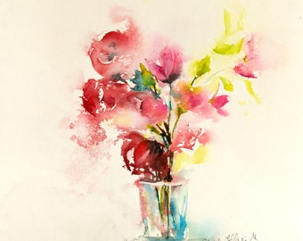 Watercolour of  a vase of flowers,  original painting -floral art - modern art, abstract art - red and pink blooms