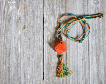 Orange Bead Twine Necklace | Bright Color Jewelry | Tassel Necklace | Single-Chain Style
