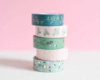 Washi tape set, Winter washi tape, Mint green washi tape, mint green masking tape, blush masking tape, blush gold washi, emerald green washi