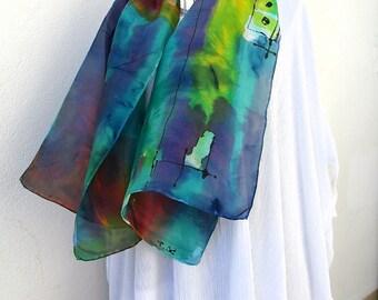 """Foulard en pongé de soie peint à main, hand painted silk scarf from France, style contemporain """"Vent d'Est"""""""