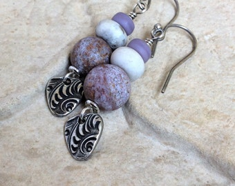 PurpleEarrings VioletDropEarrings OrganicJewelry Rustic Handmade LavenderDangleEarrings PurpleJewelry SterlingSilver Pewter