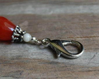 Gemstone Key Charm Carnelian Teardrop with Fancy Jasper