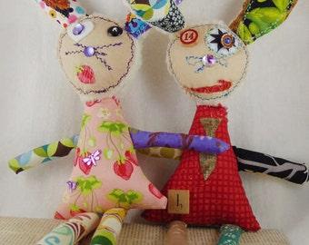Recycled Fabric Art Doll, <<CUSTOM>> Bunny Art Doll, Recycle Cloth Art Doll