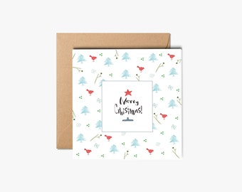 Christmas Cards, Handmade Cards, Watercolor cards with envelope, Holiday Greeting Card, Holiday Card, Xmas Card Set, Boxed Christmas Cards