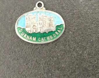 Enamel Silver Shield Charm Durham Cathedral Vintage Bracelet Charm Necklace Pendant  fob