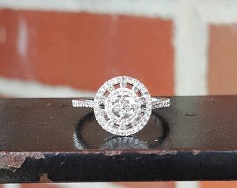 10k White Gold Halo Diamonds Engagement Ring