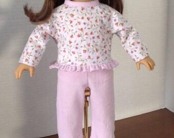 Flannel pajamas, winter pajamas, warm pajamas, two piece pajamas, long sleeve pajamas, pajamas with ruffles,