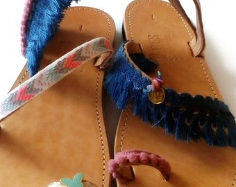 gladiator sandals, greek sandals, handmade leather shoes, boho style, pom pom sandals, sandals for women,slip on shoes,boho barefoot sandals