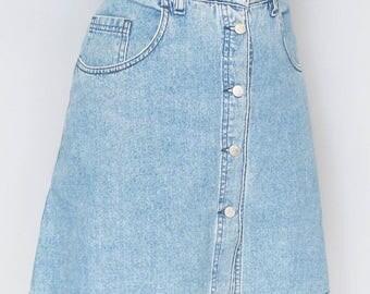 Vintage 1990's Motor Blue Denim Mini Button Front Skirt