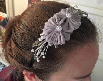 Black Satin Headband With Silver Floral Detail