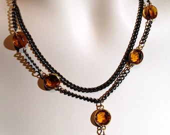 Vintage brass choker with topaz crystal and matching pierced earring