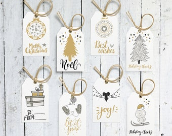 Christmas Tags, Holiday Tags, Gift Tags, Printable Gift Tags,  Black And White, Gold And White, Printable, Digital File, Instant Download