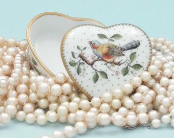 Vintage Anna Weatherley Hand-Painted Gilded Porcelain Heart-Shaped Box