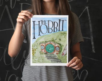 The Hobbit Art Print - Book Cover Painting - Bag End - The Shire - Bilbo Baggins