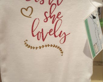 "Baby Girl Boutique Graphic Onesie, ""Isn't She Lovely"" Fun & Trendy, 100% Cotton!"