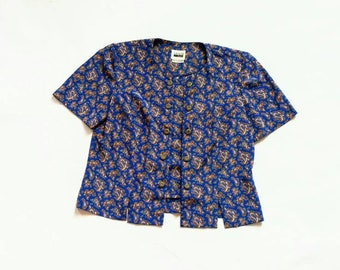 Vintage Paisley Double Button Up Blouse - Leslie Fay 12 l large m blue brown collarless short sleeve round neck