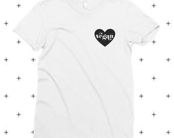 Vegan Heart T-Shirt, Vegan, Vegetarian, Shirt, Plant-Based Clothing, Healthy, Hipster, Love, Cute, American Apparel