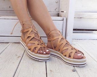 Tie up Gladiator Sandals, Leather Sandals, Tie Up Sandals, Summer Shoes Handmade In Greece From Genuine Leather by Christina Christi Jewels.