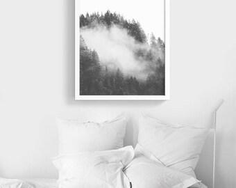 The Dark Førest ART PRINT   Fog wall art   Black and white Forest Poster   Modern Nature Photography   Modern Scandinavian Forest Art Print