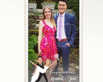 DIY Snapchat GeoFilter for Wedding | Personalised cartoon | We Customize for You | Perfect Gift