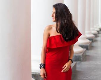 Long Bridesmaid Dress \ Boho Bridesmaid Dress Red Bridesmaid Dress Long Evening Dress Summer Party Dress