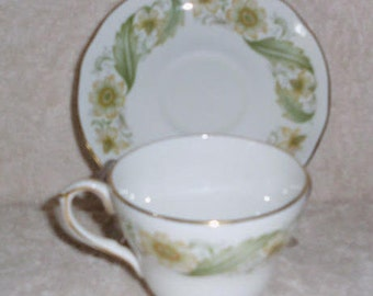 Duchess Teacup Saucer Greensleeves, Bone China, Tea Cup and Saucer Set Made in England