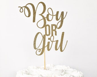 Boy or Girl Cake Topper / Gender Reveal Party Decor / Gender Reveal Cake Topper / Baby Reveal / Girl or Boy / Pink or Blue / Mommy To Be