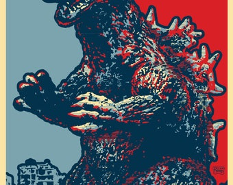 """GOJIRA 2020 """"HOPE"""" Style Election Posters - 11 x 17 inches - King of All Monsters!"""