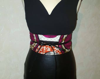 Reversible Kimono wax and faux leather belt