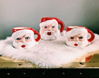 Vintage Santa Claus Coffee Mugs / Set of 3 Handmade Santa Coffee Mugs