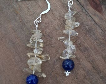 Lemon Citrine and Lapis Lazuli Silver Earrings, Valentines  or Mother's Day gift