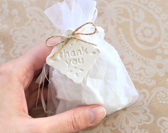 Square Thank You gift tags, wedding thank you tags, clay gift tags, wedding favor tags, wedding favours, thank you tags, white clay tags
