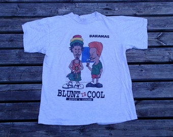 "Vintage Beavis & Butthead / Bahamas / Rufus and Tyrone ""Blunt is Cool"" grey t-shirt medium"