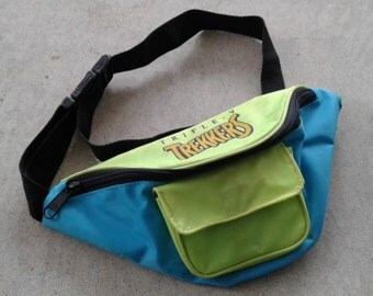 "Vintage 90's ""Triple-V Trekkers"" Fanny Pack Neon Green and Blue Vintage Waist Bag"