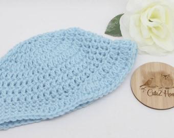 Crochet Beanie, Size 3 mths, Blue, Newborn Beanie, Baby Hat, Toddler Beanie,