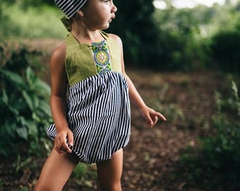 Olive Green Striped Romper, Boho Romper, Baby Shower, New Baby, Boho, Baby Girl Outfit, Jacquard Trim, Summer Outfit, Romper Snaps